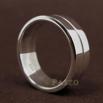 แหวนเซาะร่อง หน้ากว้าง8มิล แหวนเงินแท้ #3