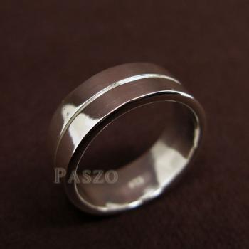 แหวนเซาะร่อง หน้ากว้าง8มิล แหวนเงินแท้ #4