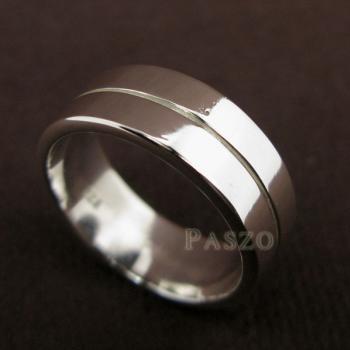 แหวนเซาะร่อง หน้ากว้าง8มิล แหวนเงินแท้ #6