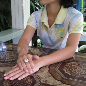 แหวนพลอยสีฟ้า ล้อมเพชร แหวนชุบทอง #4