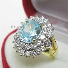 แหวนพลอยสีฟ้า ล้อมเพชร แหวนชุบทอง