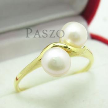 แหวนไข่มุก พลอยคู่ แหวนทองชุบ #2