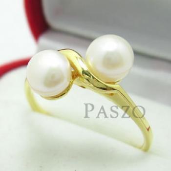 แหวนไข่มุก พลอยคู่ แหวนทองชุบ #3