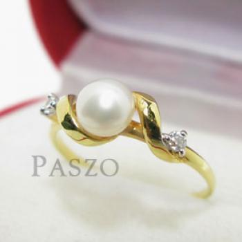 แหวนไข่มุก ประดับเพชร แหวนทองชุบ #2