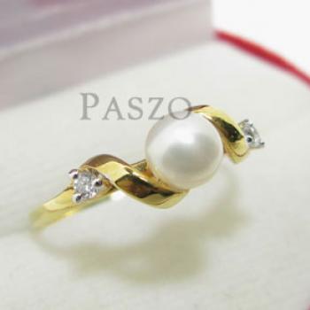 แหวนไข่มุก ประดับเพชร แหวนทองชุบ #3