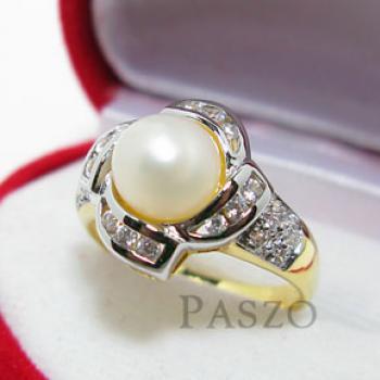 แหวนไข่มุก ล้อมเพชร แหวนชุบทอง #2