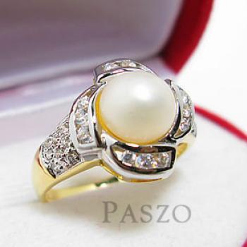 แหวนไข่มุก ล้อมเพชร แหวนชุบทอง #3