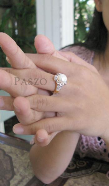แหวนไข่มุก ล้อมเพชร แหวนชุบทอง #4
