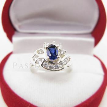 แหวนไพลิน แหวนเงินแท้ฝังพลอยไพลิน พลอยสีน้ำเงิน #2