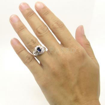 แหวนไพลิน แหวนเงินแท้ฝังพลอยไพลิน พลอยสีน้ำเงิน #5