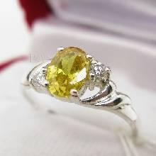 แหวนพลอยบุษราคัม แหวนเงินแท้ ฝังบุษราคัม พลอยสีเหลือง ประดับเพชร