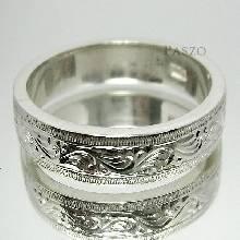 แหวนแกะลายไทย หน้ากว้าง6มิล แหวนเงินแท้ แหวนเกลี้ยง ขอบตรง