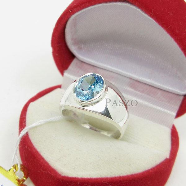 แหวนผู้ชาย พลอยสีฟ้า บลูโทพาซ #3