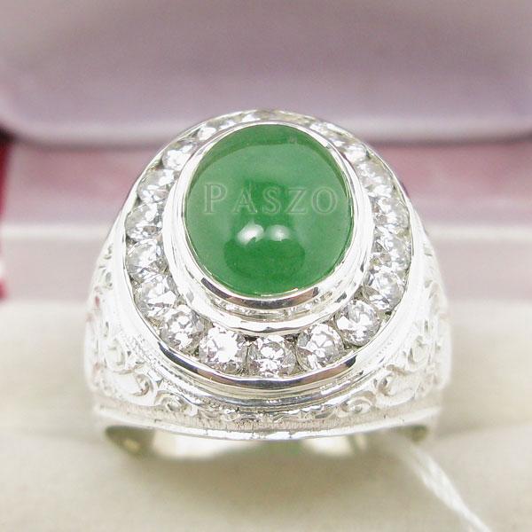 แหวนหยกสำหรับผู้ชาย ล้อมเพชร แหวนผู้ชายเงิน #3