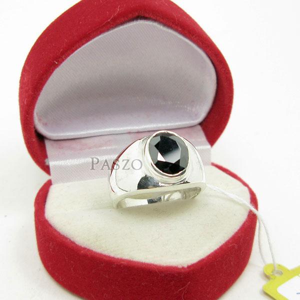 แหวนผู้ชาย ฝังนิล ตัวเรือนแหวนเงินแท้ #2