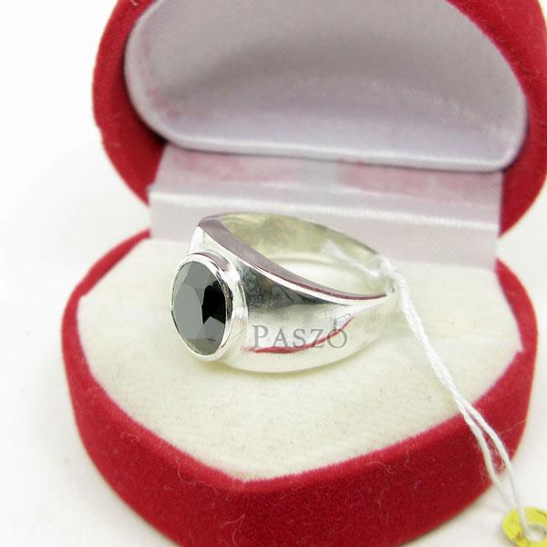 แหวนผู้ชาย ฝังนิล ตัวเรือนแหวนเงินแท้ #4