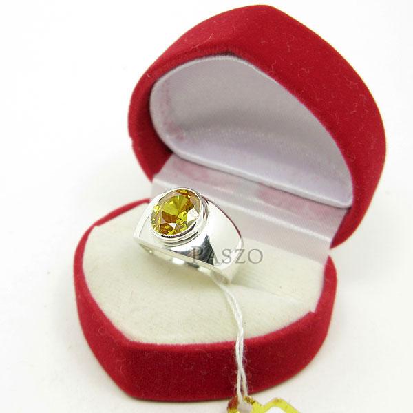 แหวนผู้ชาย แหวนพลอยบุษราคัม ตัวเรือนแหวนเงินแท้ #2