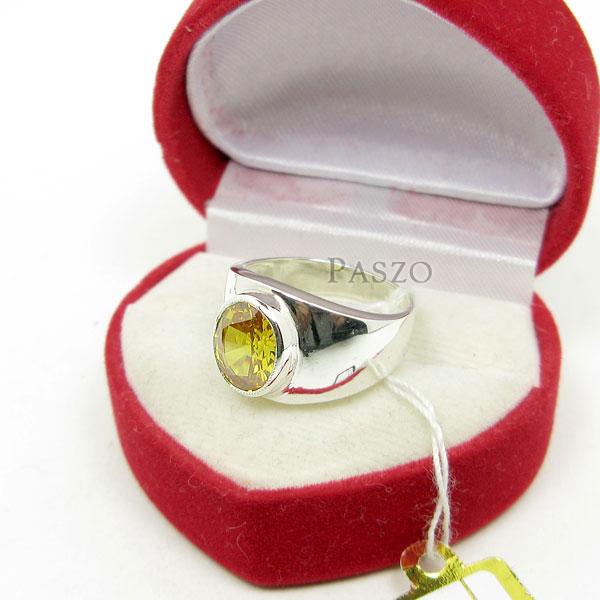 แหวนผู้ชาย แหวนพลอยบุษราคัม ตัวเรือนแหวนเงินแท้ #3