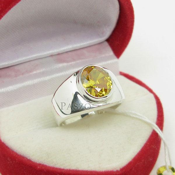 แหวนผู้ชาย แหวนพลอยบุษราคัม ตัวเรือนแหวนเงินแท้ #5