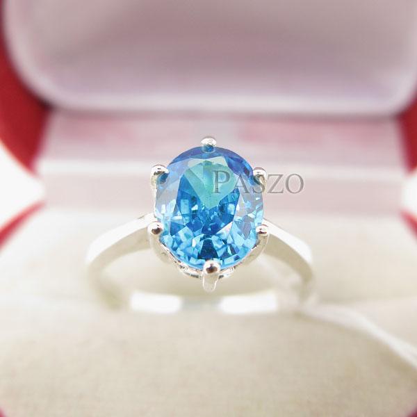 แหวนพลอยบูลโทพาซ พลอยสีฟ้า เม็ดเดี่ยว #2