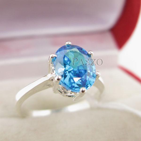 แหวนพลอยบูลโทพาซ พลอยสีฟ้า เม็ดเดี่ยว #3