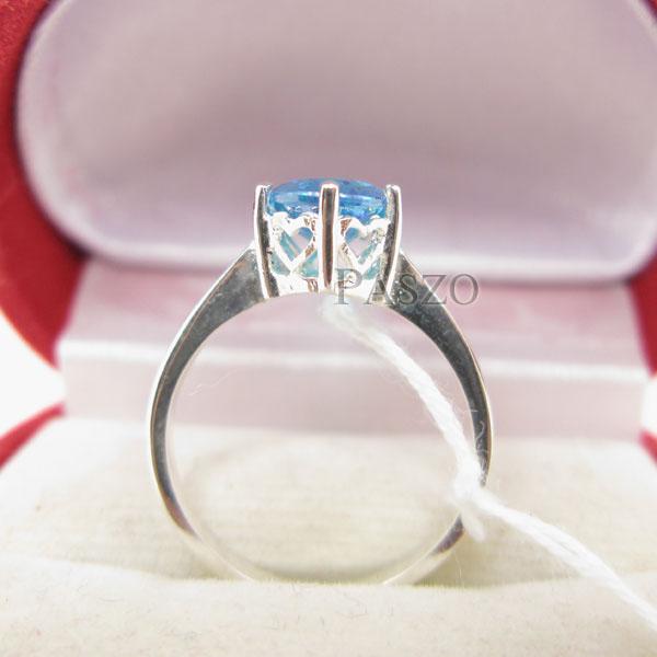 แหวนพลอยบูลโทพาซ พลอยสีฟ้า เม็ดเดี่ยว #4
