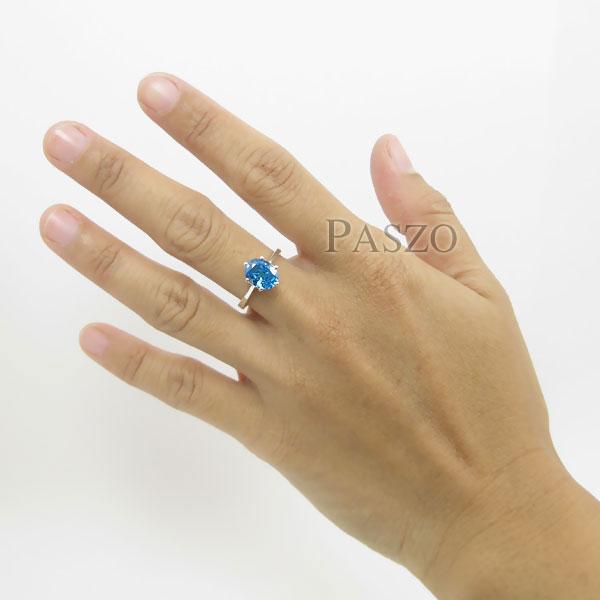 แหวนพลอยบูลโทพาซ พลอยสีฟ้า เม็ดเดี่ยว #5