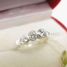 แหวนเพชร เพชรสองเม็ด แหวนเงิน แหวนเงินฝังเพชร