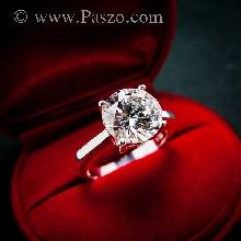 แหวนเพชรเม็ดเดี่ยว แหวนเงิน แหวนเพชร 3กะรัต แหวนเงินฝังเพชร