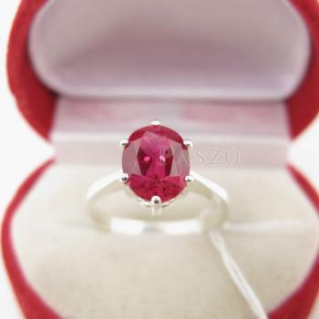 แหวนพลอยทับทิม แหวนเงินแท้ ฝังพลอยสีแดง #2