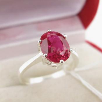 แหวนพลอยทับทิม แหวนเงินแท้ ฝังพลอยสีแดง #3