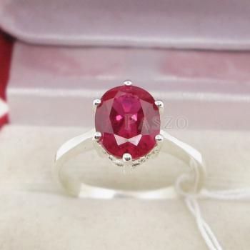 แหวนพลอยทับทิม แหวนเงินแท้ ฝังพลอยสีแดง #4