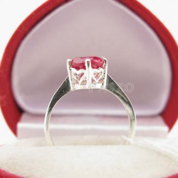 แหวนพลอยทับทิม แหวนเงินแท้ ฝังพลอยสีแดง #5