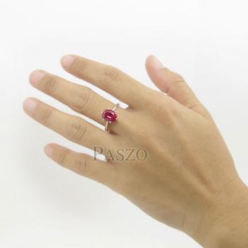 แหวนพลอยทับทิม แหวนเงินแท้ ฝังพลอยสีแดง #6