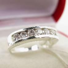 แหวนเพชร 7เม็ด แหวนแถว แหวนเงินฝังเพชร