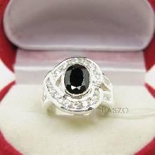 แหวนนิล นิลแท้ อัญมณีสีดำ ล้อมเพชร แหวนเงินแท้