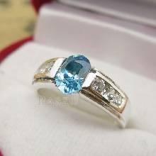 แหวนพลอยสีฟ้า แหวนเงินแท้ บลูโทพาซ BlueTopaz บ่าฝังเพชร