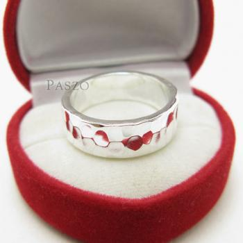 แหวนลายค้อนทุบ หน้ากว้าง8มิล แหวนเงินแท้ #2