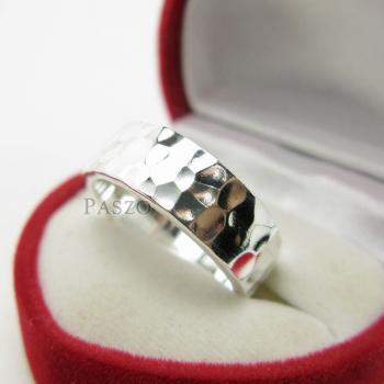 แหวนลายค้อนทุบ หน้ากว้าง8มิล แหวนเงินแท้ #4