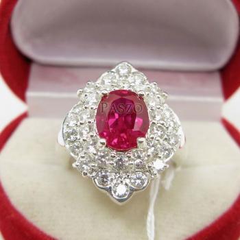 แหวนทับทิม แหวนเงินแท้ ฝังพลอยสีแดง #2