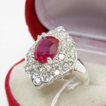 แหวนทับทิม แหวนเงินแท้ ฝังพลอยสีแดง #3