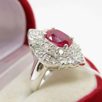 แหวนทับทิม แหวนเงินแท้ ฝังพลอยสีแดง #4