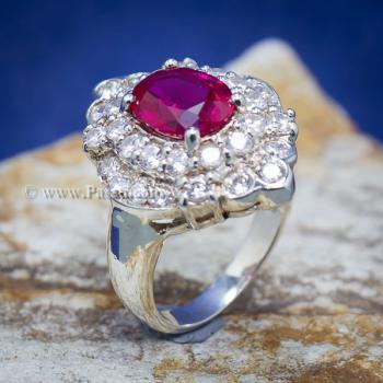 แหวนทับทิม แหวนเงินแท้ ฝังพลอยสีแดง #5