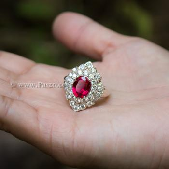 แหวนทับทิม แหวนเงินแท้ ฝังพลอยสีแดง #6