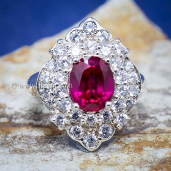 แหวนทับทิม แหวนเงินแท้ ฝังพลอยสีแดง #8