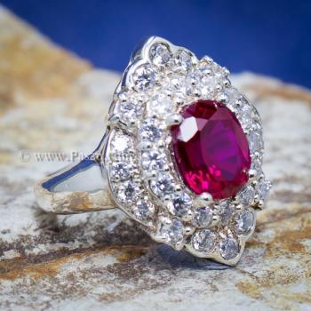 แหวนทับทิม แหวนเงินแท้ ฝังพลอยสีแดง #7