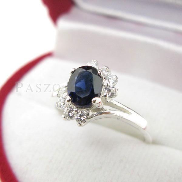 แหวนพลอยไพลิน พลอยสีน้ำเงิน ประดับเพชร #2