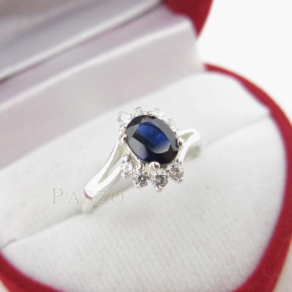 แหวนพลอยไพลิน พลอยสีน้ำเงิน ประดับเพชร #3