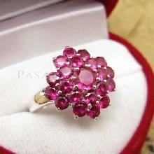 แหวนพลอยทับทิม แหวนพลอยสีแดง พลอยหลายเม็ด แหวนเงินแท้ 925 แหวนรุ่นใหญ่