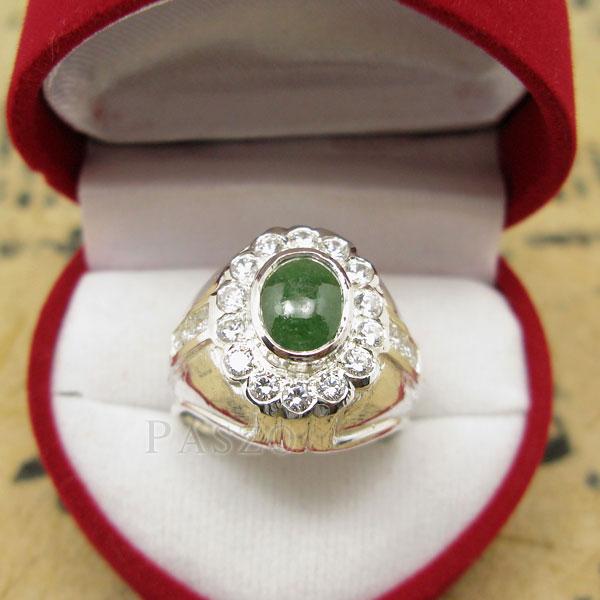 แหวนหยกผู้ชาย ล้อมเพชร แหวนผู้ชายเงินแท้ #2